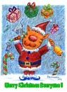 Cartoon: Merry Christmas 2011 (small) by dbaldinger tagged christmas santa cat cats bellringer presents candy canes