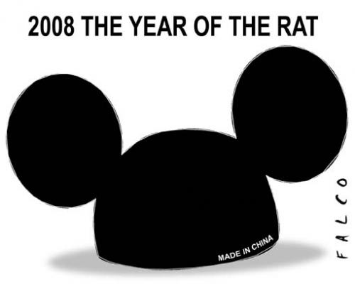 Cartoon: The Year of the Rat (medium) by alexfalcocartoons tagged china,rat,new,year,tradition,zodiac,,the