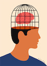 Cartoon: Brain in a cage (small) by alexfalcocartoons tagged brain,in,cage