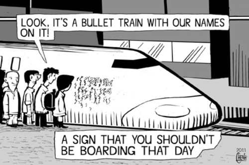 Cartoon: Bullet train ride (medium) by sinann tagged bullet,train,sign,passengers,boarding,names