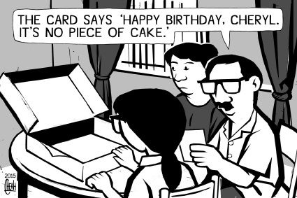 Cartoon: Cheryl birthday (medium) by sinann tagged cheryl,birthday,puzzle,teaser,problem,maths