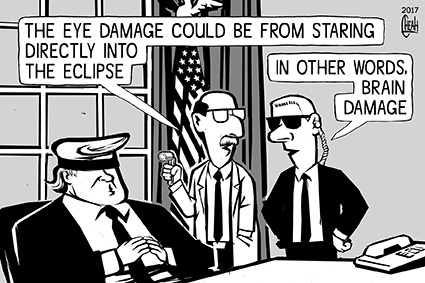 Cartoon: Eclipse eye damage (medium) by sinann tagged eclipse,eya,damage,trump,stare,direct
