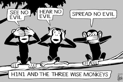 Pictures Of Monkeys Cartoon. Cartoon: H1N1 monkeys (medium)