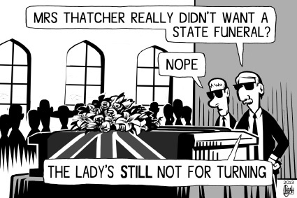 Cartoon: Margaret Thatcher RIP (medium) by sinann tagged margaret,thatcher,iron,lady,funeral,casket,turning
