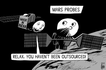 Cartoon on Mars Mission of India Cartoon Mars Mission India