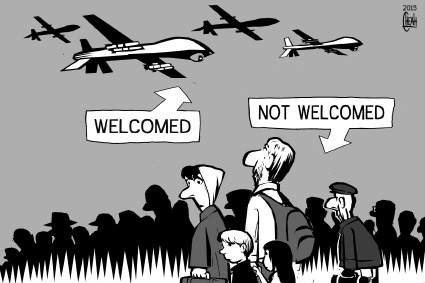 Cartoon: Migrants and drones (medium) by sinann tagged migrants,refugees,drones,welcome