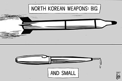 Cartoon: North Korea assassination (medium) by sinann tagged north,korea,kim,jong,nam,assassination,poison,pen,missile