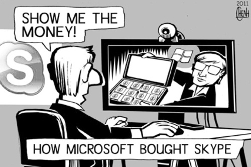 Cartoon: Skype is sold (medium) by sinann tagged skype,microsoft,webcam,sold,bought