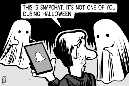 Cartoon: Snapchat Halloween (medium) by sinann tagged snapchat,app,halloween,ghosts