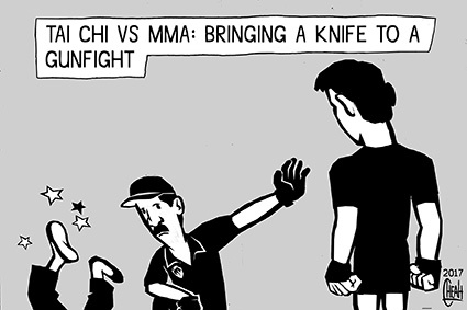 Cartoon: Tai Chi vs MMA (medium) by sinann tagged tai,chi,mma,mixed,martial,arts