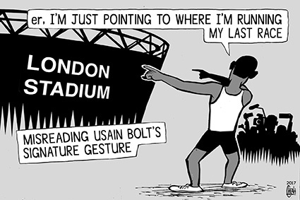Cartoon: Usain Bolt last race (medium) by sinann tagged bolt,usain,london,stadium,race,last