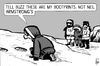 Cartoon: Buzz Aldrin in Antarctic (small) by sinann tagged buzz,edwin,aldrin,antarctic,footprints,evacuated,sick
