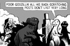 Cartoon: Godzilla scratcher (small) by sinann tagged godzilla,backscratching,post