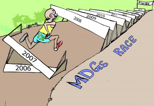 Cartoon: MDGs (medium) by fredhalla tagged mdgs,racing,