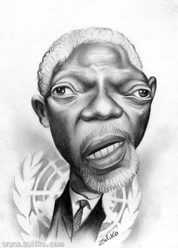 Cartoon: caricatures of famous people (medium) by zaliko tagged kofi,annan