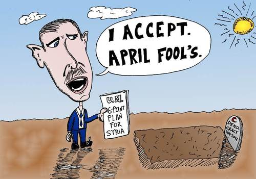 Cartoon: Assad accepts Peace April Fools (medium) by laughzilla tagged democracy,syria,war,april,fool,holiday,gag,peace,plan,caricature,political,editorial,webcomic,laughzilla
