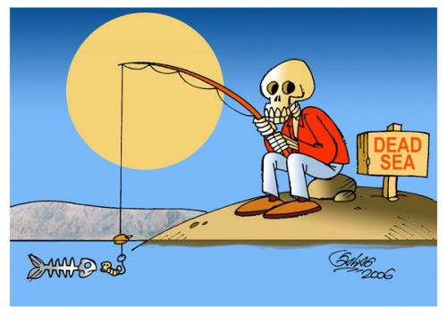 Cartoon: Dead Sea (medium) by Salas tagged dead,sea,fish,skull,corpse,