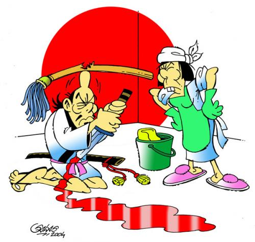 Cartoon: Harakiri (medium) by Salas tagged harakiri,japan,suicide,katana,