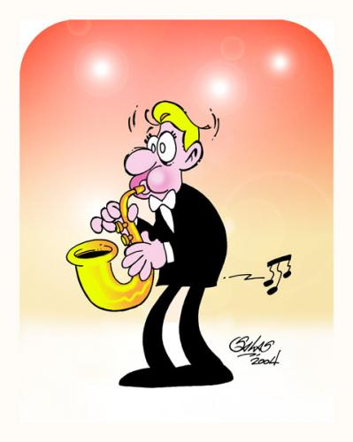 Cartoon: Oops...! (medium) by Salas tagged music,saxo,surprise,