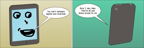 Cartoon: apple and android comic (medium) by BinaryOptions tagged option,trade,binary,options,trader,android,apple,mobile,dessin,anime,cartoon,editorial,news,about,comics,webcomic,optionsclick,value,financial,business,stock,market