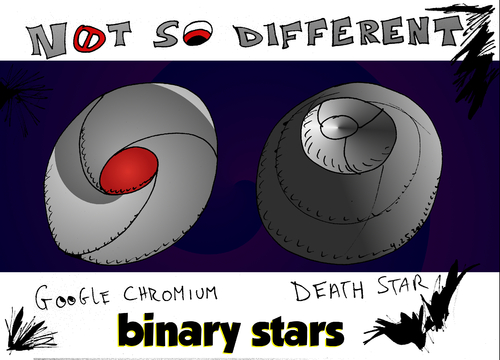 Cartoon: Binary Stars caricature (medium) by BinaryOptions tagged binary,option,options,star,wars,editorial,cartoon,caricature,google,chromium,hal,9000,optionsclick,financial,business,corporation,evil,empire,comic,icons
