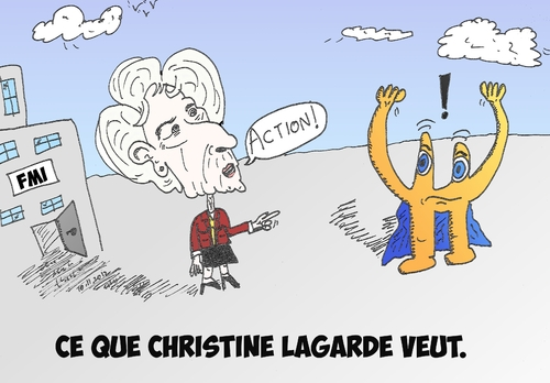 Cartoon: Christine Lagarde et Euroman (medium) by BinaryOptions tagged christine,lagarde,fmi,fonds,monetaire,international,euroman,euro,europe,europeen,eur,argent,dette,devises,forex,action,politique,caricature,editoriale,dessin,anime,comique,entreprise,optionsclick,trader,options,binaires,negociation,option,financement,commerce,nouvelles,infos,news,actualites