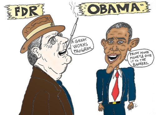Cartoon: FDR and Obama caricature (medium) by BinaryOptions tagged optionsclick,binary,options,option,trader,trade,trading,invest,investor,investment,national,bailout,strategy,policy,financial,fiscal,economic,economy,fdr,franklin,delano,roosevelt,barack,hussein,obama,news,editorial,caricature,cartoon,comic
