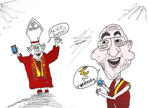 Cartoon: Holy Tweets cartoon (medium) by BinaryOptions tagged pope,benedict,dalai,lama,twitter,tweet,tweets,caricature,financial,editorial,business,comic,cartoon,optionsclick,binary,options,trader,option,trading,trade,news