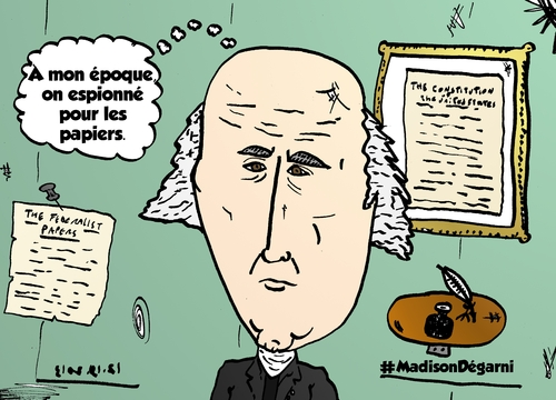 Cartoon: James Madison chauve webcomic (medium) by BinaryOptions tagged president,calvitie,chauve,madison,espionnage,constitution,caricature,cartoon,webcomic,politique,editoriale,nouvelles,optionsclick,option,options,binaire,comique,trading,trader