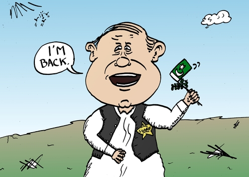 Cartoon: Nawaz Sharif Political Cartoon (medium) by BinaryOptions tagged binary,option,options,trade,trader,trading,politics,political,politician,optionsclick,caricature,editorial,business,news,nawaz,sharif,pakistan,cartoon,webcomic
