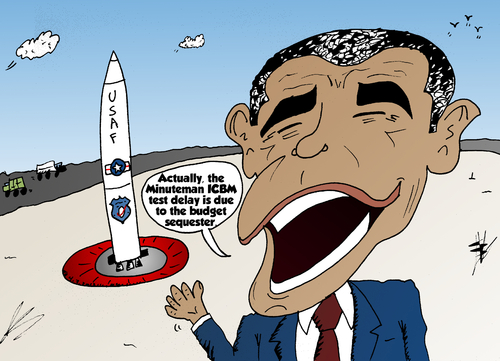 Cartoon: Obama and the ICBM non test (medium) by BinaryOptions tagged binary,option,options,trade,trader,trading,icbm,minuteman,missile,test,north,korea,tension,politics,political,geopolitical,international,sequester,satire,caricature,parody,editorial,cartoon,comic,optionsclick,barack,obama,president