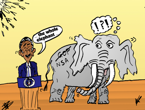 Cartoon: Obama and the NSA elephant (medium) by BinaryOptions tagged obama,elephant,nsa,caricature,cartoon,comic,webcomic,options,binary,trade,trading,editorial,political,politician,politics,news