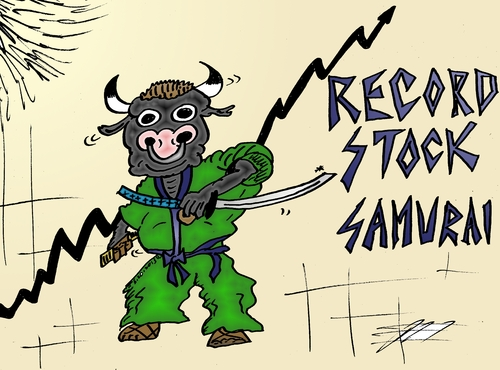 Cartoon: Record Stock Samurai (medium) by BinaryOptions tagged optionsclick,option,binaire,options,binaires,taureau,samurai,hausse,record,stock,actif,action,asie,asiatique,art,caricature,comique,webcomic,financier,affaire,news,infos,actualites,nouvelles,trader,trading,investir,investissement