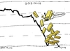 Cartoon: Falling Gold caricature (small) by BinaryOptions tagged gold,bullion,value,price,fall,drop,binary,option,options,trade,trading,optionsclick,editorial,cartoon,caricature,financial,economic,business,news,economy