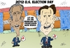 Cartoon: Obama and Romney caricature (small) by BinaryOptions tagged president,barack,obama,mitt,romney,candidates,presidential,election,american,caricature,editorial,business,comic,cartoon,optionsclick,binary,options,trader,option,trading,trade,news,national,lampoon