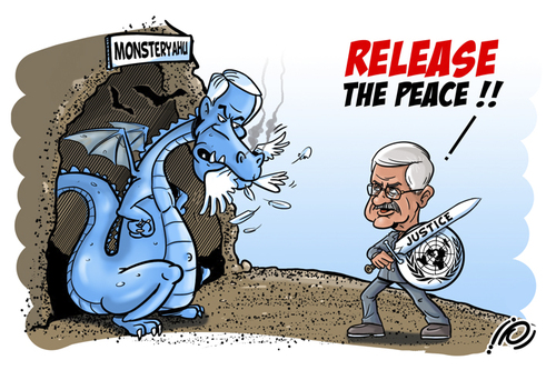 Cartoon: Monsteryahu - Release The Peace (medium) by ramzytaweel tagged abbas,palestine,netinyahu,peace