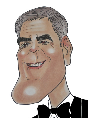 Cartoon: George Clooney (medium) by Berge tagged caricature,american,movie,pastel,coloured