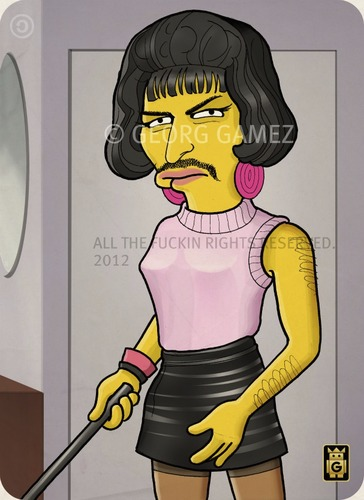 Cartoon: Freddie (medium) by gamez tagged gamez,simpson,queen,freddie,mercury,singer,woman,artist,pop,rock,classic,super