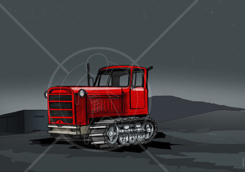 Cartoon: traktor (medium) by gamez tagged traktor,night,education,universe,comet