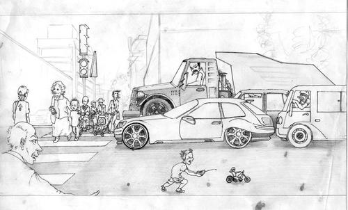 Cartoon: U    r B (medium) by gamez tagged city,car,kind,child,man,people,gmz