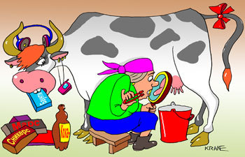 Cartoon: Cow udder (medium) by kranev tagged cow,eats,snickers,bounty,cocacola,rock,music,milkmaid,udder,magnifying,glass