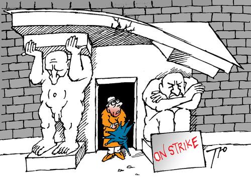 Cartoon: On strike (medium) by tunin-s tagged strike