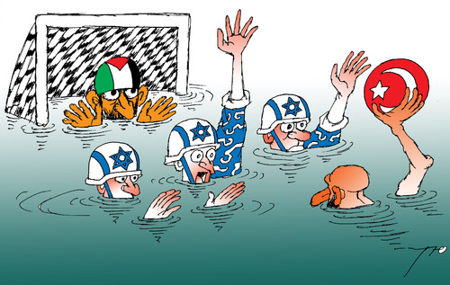 Cartoon: Palestinian water-polo (medium) by tunin-s tagged game