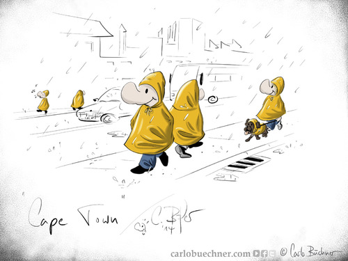 Cartoon: Cape Town (medium) by Carlo Büchner tagged afrika,africa,south,südafrika,kapstadt,cape,twon,regen,rain,street,joke,satire,humor,cartoon,carlo,büchner,arts,2014