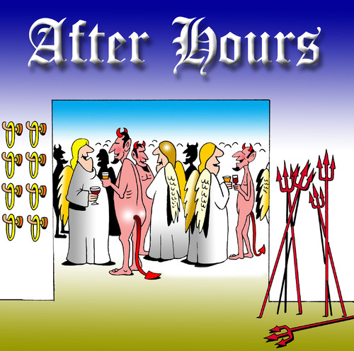 Cartoon: After hours (medium) by toons tagged angels,devils,heaven,god,socializing,pubs,beer,drinking,work,after