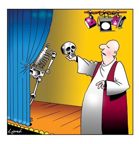 Cartoon: alas poor Yorick (medium) by toons tagged hamlet,shakespeare,yorick,theartre,plays,alas,poor,skeleton,actors,stage,play