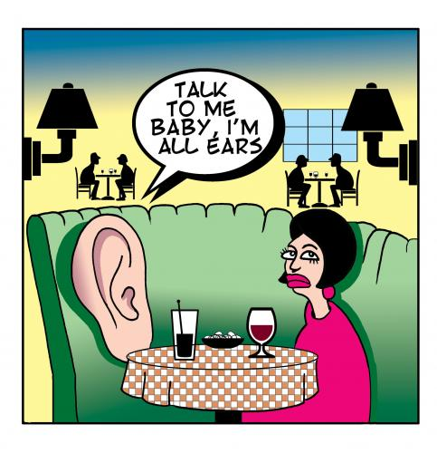 Cartoon: all ears (medium) by toons tagged relationships,love,ears,restaurants,marriage