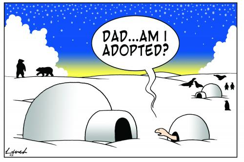 Cartoon: am I adopted? (medium) by toons tagged family,turtles,igloo,polar,bears,arctic,adoption,