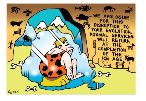 Cartoon: apologies (medium) by toons tagged evolution,ice,age,caveman,television,global,warming,cooling