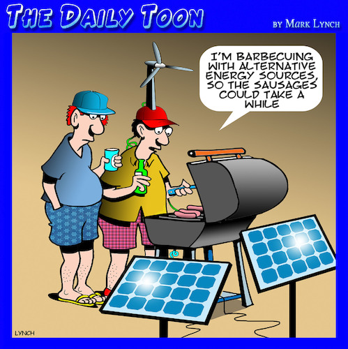 Cartoon: Barbecue (medium) by toons tagged alternative,energy,bbq,renewable,solar,panels,wind,turbine,cooking,crisis,alternative,energy,bbq,renewable,solar,panels,wind,turbine,cooking,crisis
